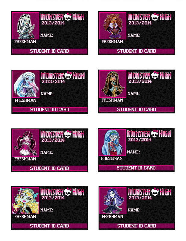 Printable Monster High Character Id Cards